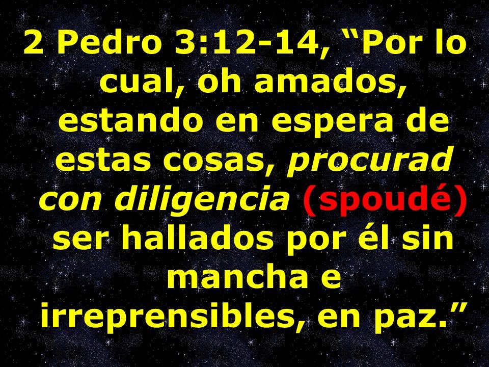 2 Pedro 3:12-14, Por lo cual, oh amados, estando en espera de estas cosas, procurad con diligencia (spoudé) ser hallados por él sin mancha e irreprens