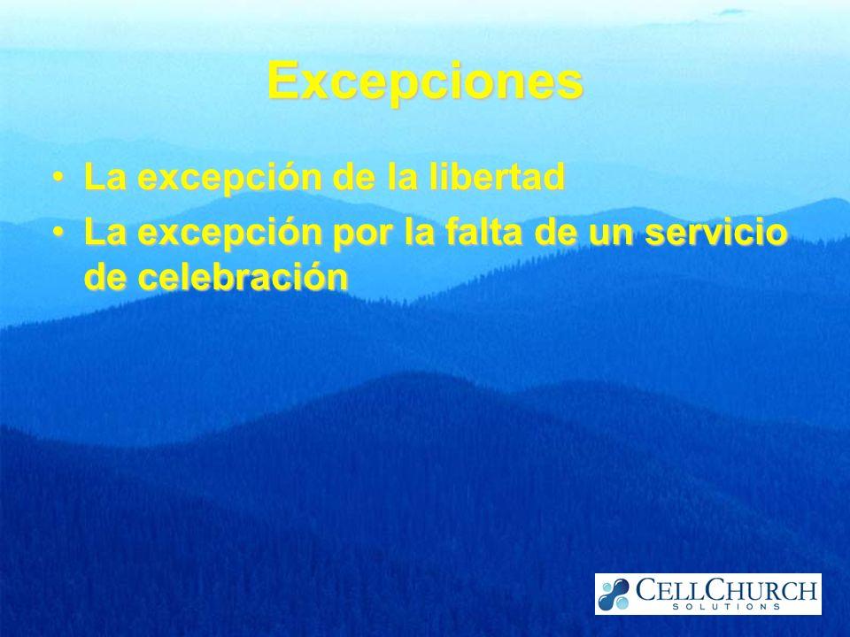 Excepciones La excepción de la libertadLa excepción de la libertad La excepción por la falta de un servicio de celebraciónLa excepción por la falta de