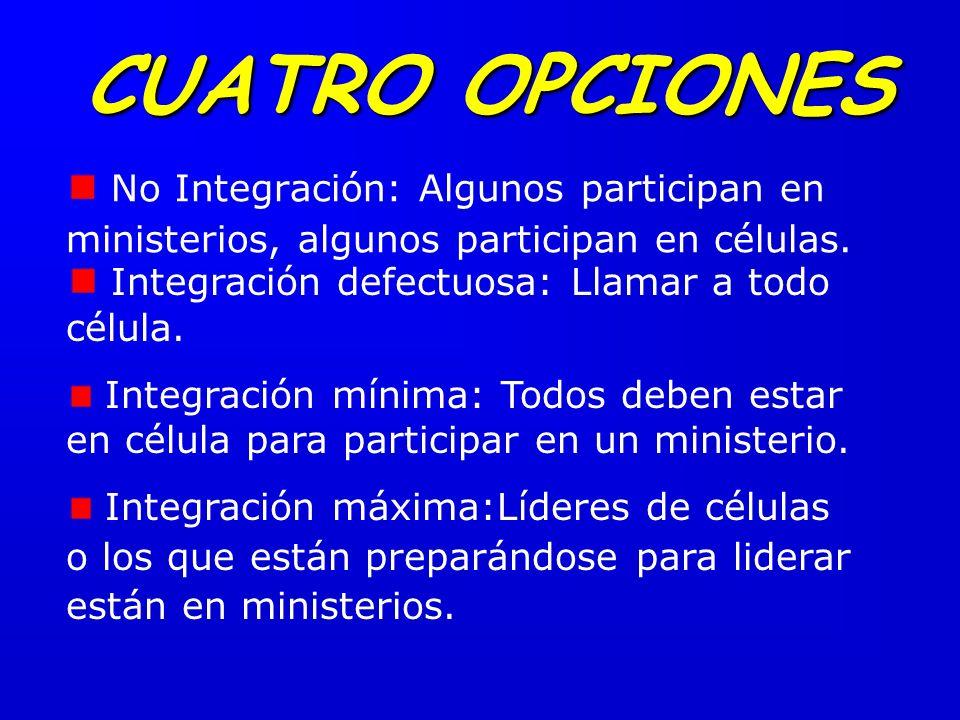 No Integración: Algunos participan en ministerios, algunos participan en células.