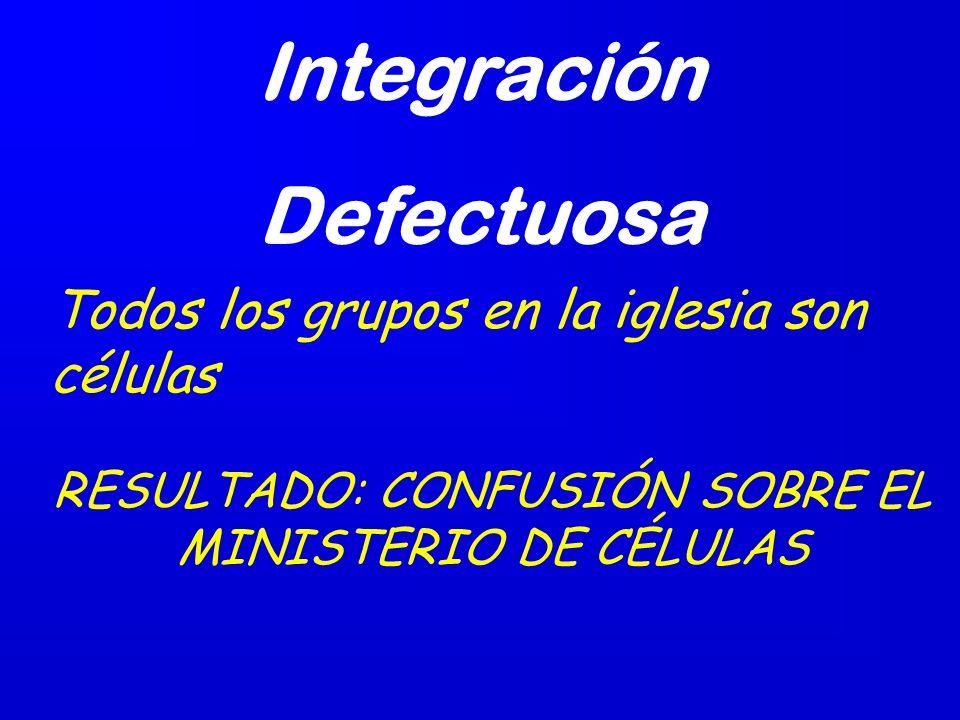 No Integración: Algunos con ministerios. Otros en células. RESULTADO: LA IGLESIA BASADA EN PROGRAMAS