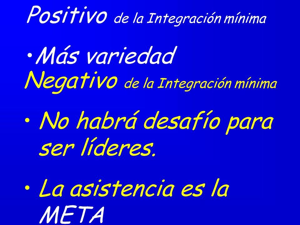 Positivo de la Integración mínima Más variedad Negativo de la Integración mínima No habrá desafío para ser líderes.