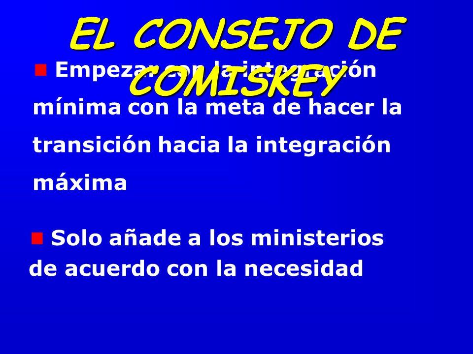 Empezar con la integración mínima con la meta de hacer la transición hacia la integración máxima EL CONSEJO DE COMISKEY Solo añade a los ministerios de acuerdo con la necesidad