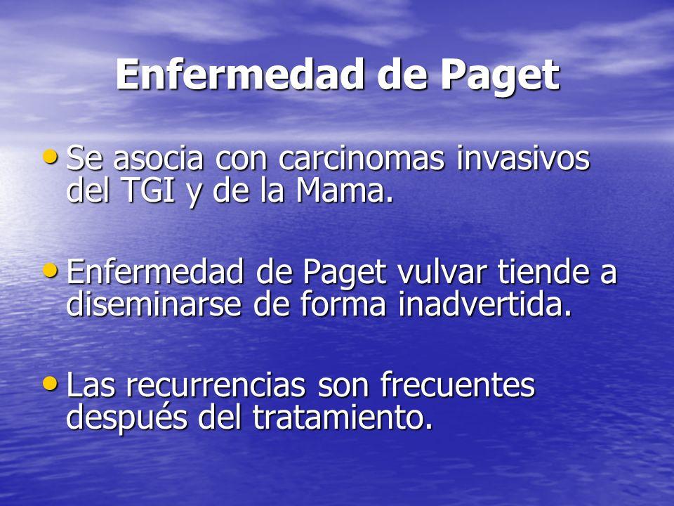 Enfermedad de Paget Se asocia con carcinomas invasivos del TGI y de la Mama. Se asocia con carcinomas invasivos del TGI y de la Mama. Enfermedad de Pa