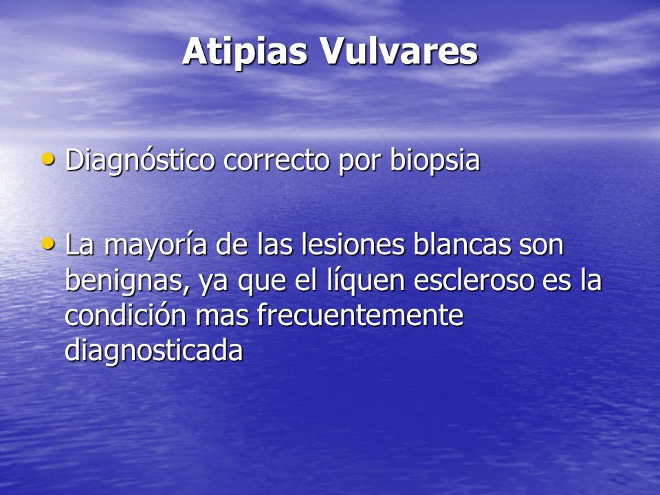 Atipias Vulvares Diagnóstico correcto por biopsia Diagnóstico correcto por biopsia La mayoría de las lesiones blancas son benignas, ya que el líquen e