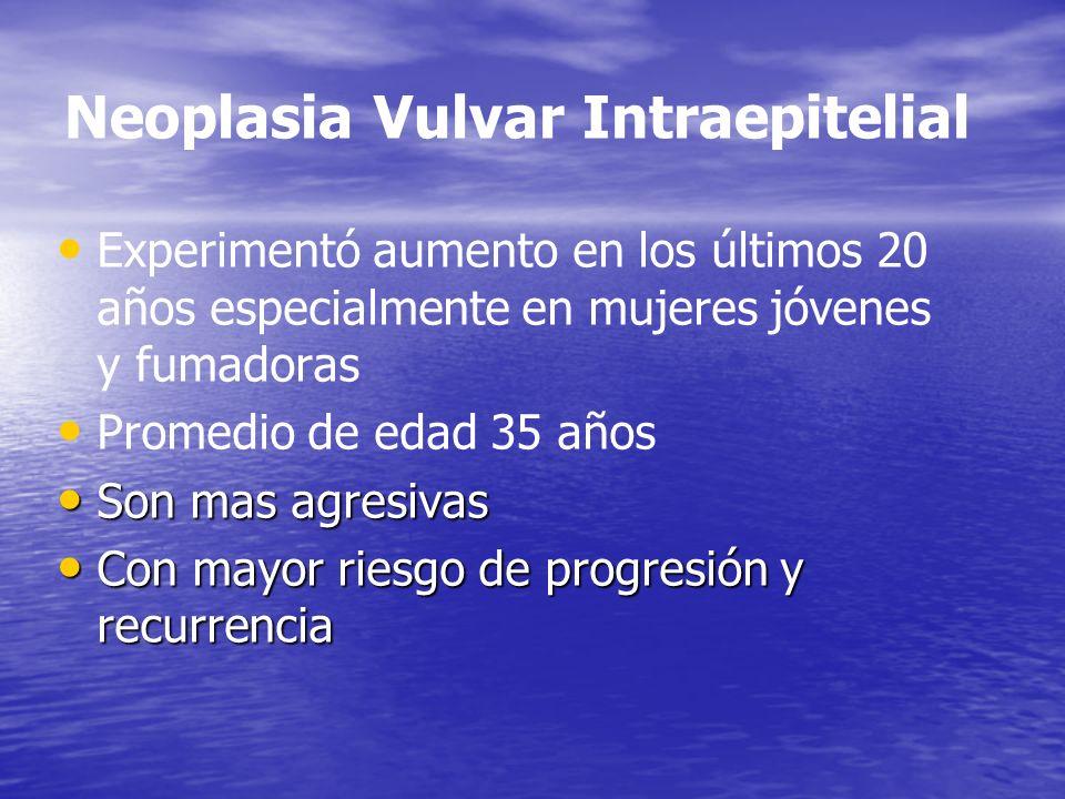 Neoplasia Vulvar Intraepitelial Experimentó aumento en los últimos 20 años especialmente en mujeres jóvenes y fumadoras Promedio de edad 35 años Son m