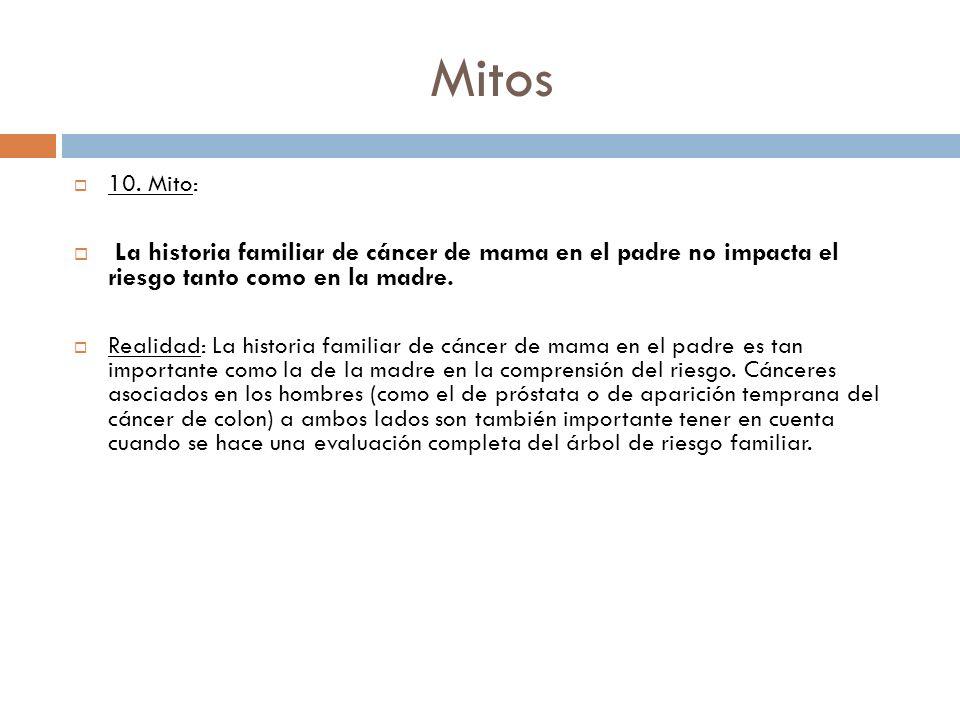 Mitos 10. Mito: La historia familiar de cáncer de mama en el padre no impacta el riesgo tanto como en la madre. Realidad: La historia familiar de cánc