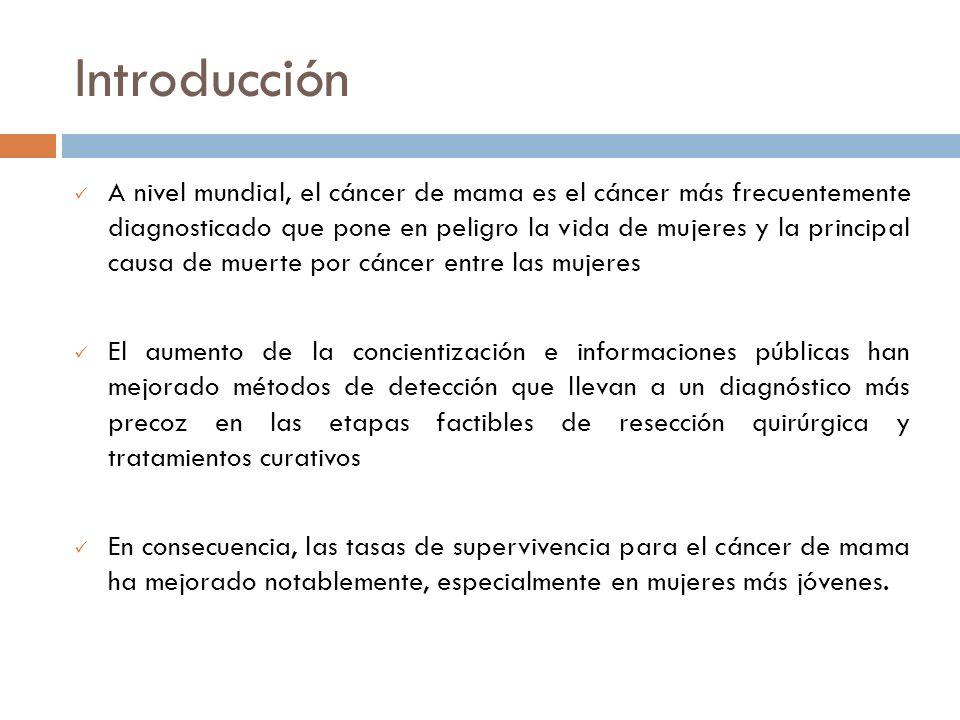 Introducción A nivel mundial, el cáncer de mama es el cáncer más frecuentemente diagnosticado que pone en peligro la vida de mujeres y la principal ca