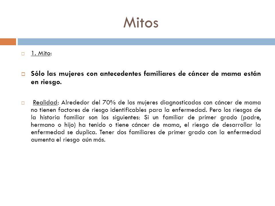 Mitos 1. Mito: Sólo las mujeres con antecedentes familiares de cáncer de mama están en riesgo. Realidad: Alrededor del 70% de las mujeres diagnosticad