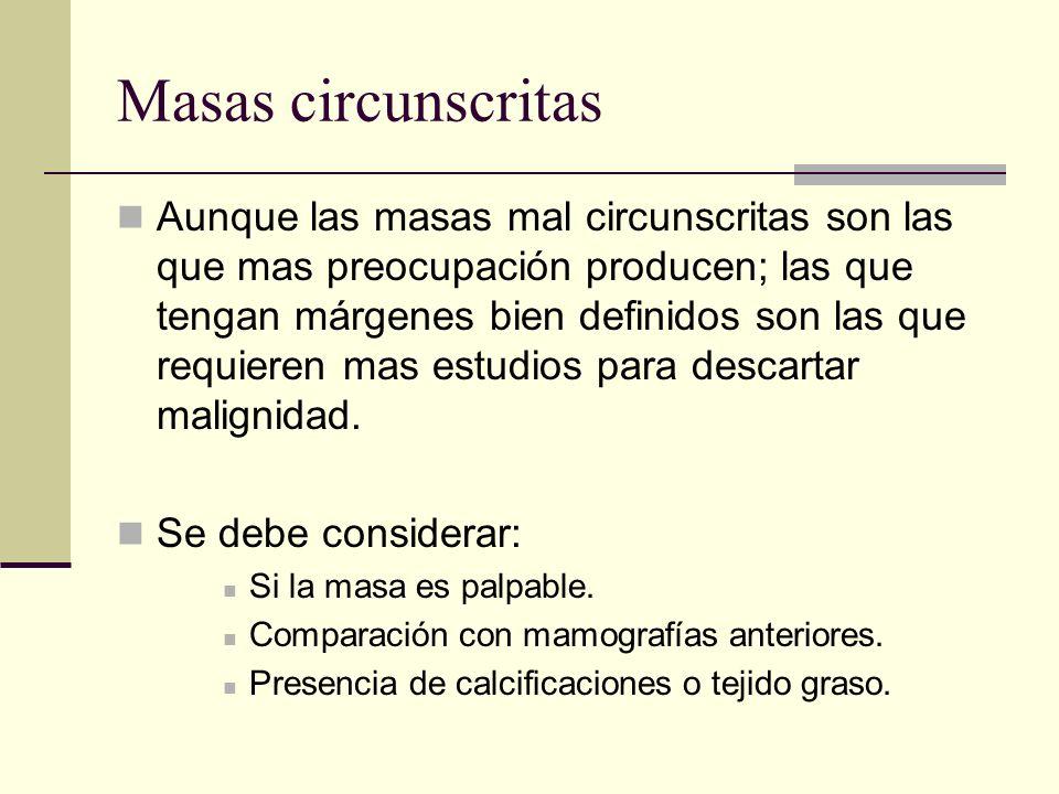 Masas circunscritas Aunque las masas mal circunscritas son las que mas preocupación producen; las que tengan márgenes bien definidos son las que requi