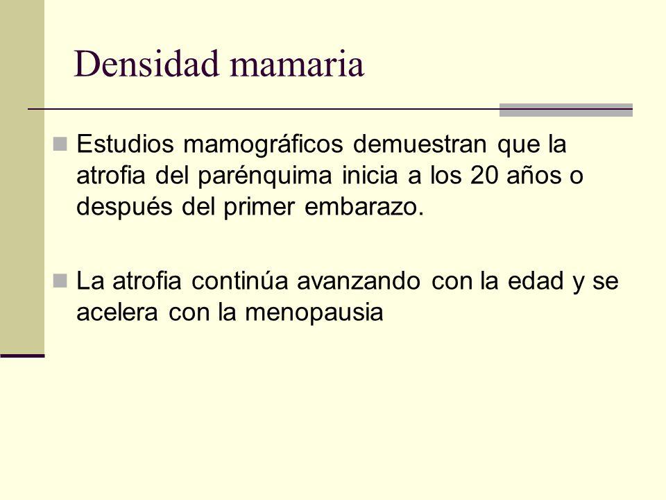 Densidad mamaria Estudios mamográficos demuestran que la atrofia del parénquima inicia a los 20 años o después del primer embarazo. La atrofia continú