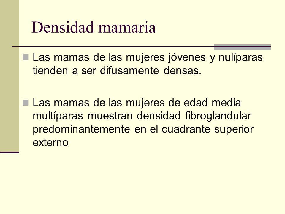 Densidad mamaria Las mamas de las mujeres jóvenes y nulíparas tienden a ser difusamente densas. Las mamas de las mujeres de edad media multíparas mues
