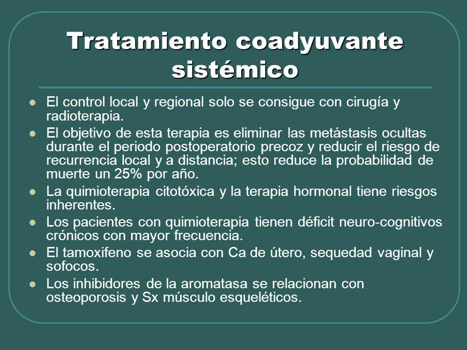 Tratamiento coadyuvante sistémico El control local y regional solo se consigue con cirugía y radioterapia. El objetivo de esta terapia es eliminar las