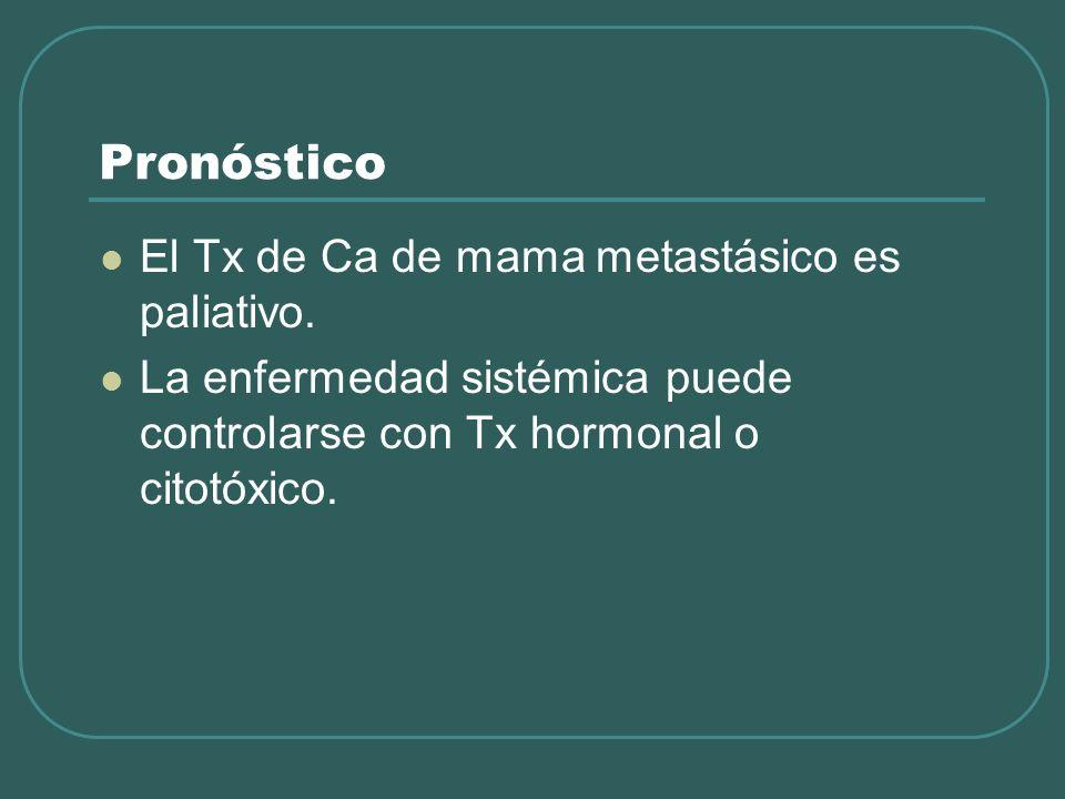 Pronóstico El Tx de Ca de mama metastásico es paliativo. La enfermedad sistémica puede controlarse con Tx hormonal o citotóxico.