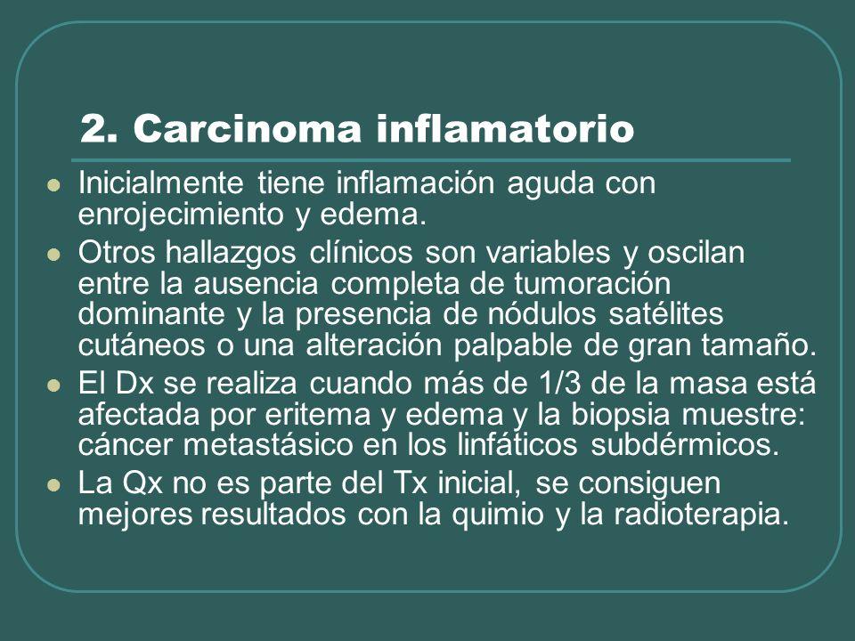 2. Carcinoma inflamatorio Inicialmente tiene inflamación aguda con enrojecimiento y edema. Otros hallazgos clínicos son variables y oscilan entre la a
