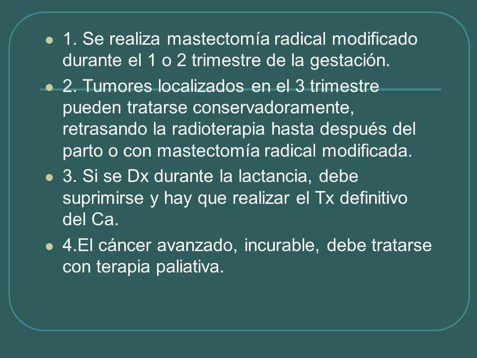 1. Se realiza mastectomía radical modificado durante el 1 o 2 trimestre de la gestación. 2. Tumores localizados en el 3 trimestre pueden tratarse cons