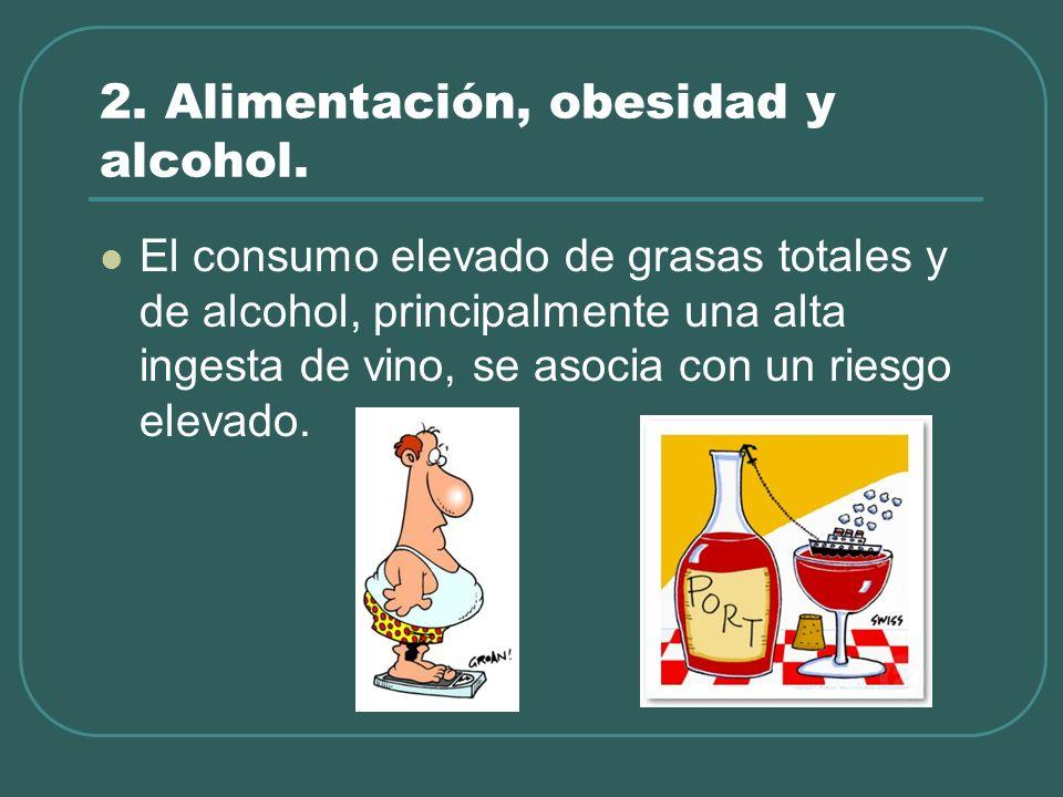 2. Alimentación, obesidad y alcohol. El consumo elevado de grasas totales y de alcohol, principalmente una alta ingesta de vino, se asocia con un ries