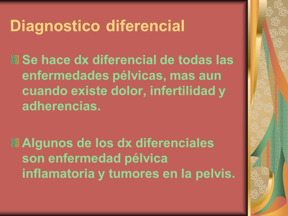 Diagnostico diferencial Se hace dx diferencial de todas las enfermedades pélvicas, mas aun cuando existe dolor, infertilidad y adherencias. Algunos de