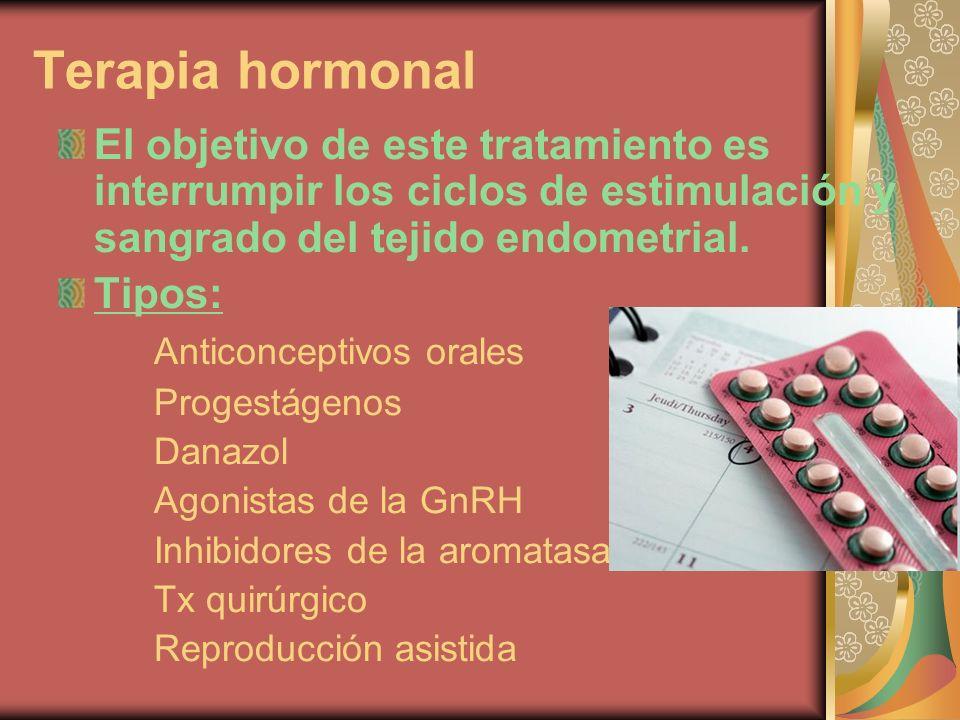 Terapia hormonal El objetivo de este tratamiento es interrumpir los ciclos de estimulación y sangrado del tejido endometrial. Tipos: Anticonceptivos o