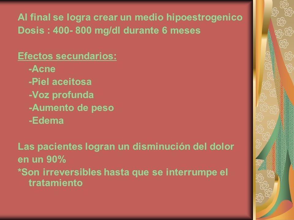 Al final se logra crear un medio hipoestrogenico Dosis : 400- 800 mg/dl durante 6 meses Efectos secundarios: -Acne -Piel aceitosa -Voz profunda -Aumen