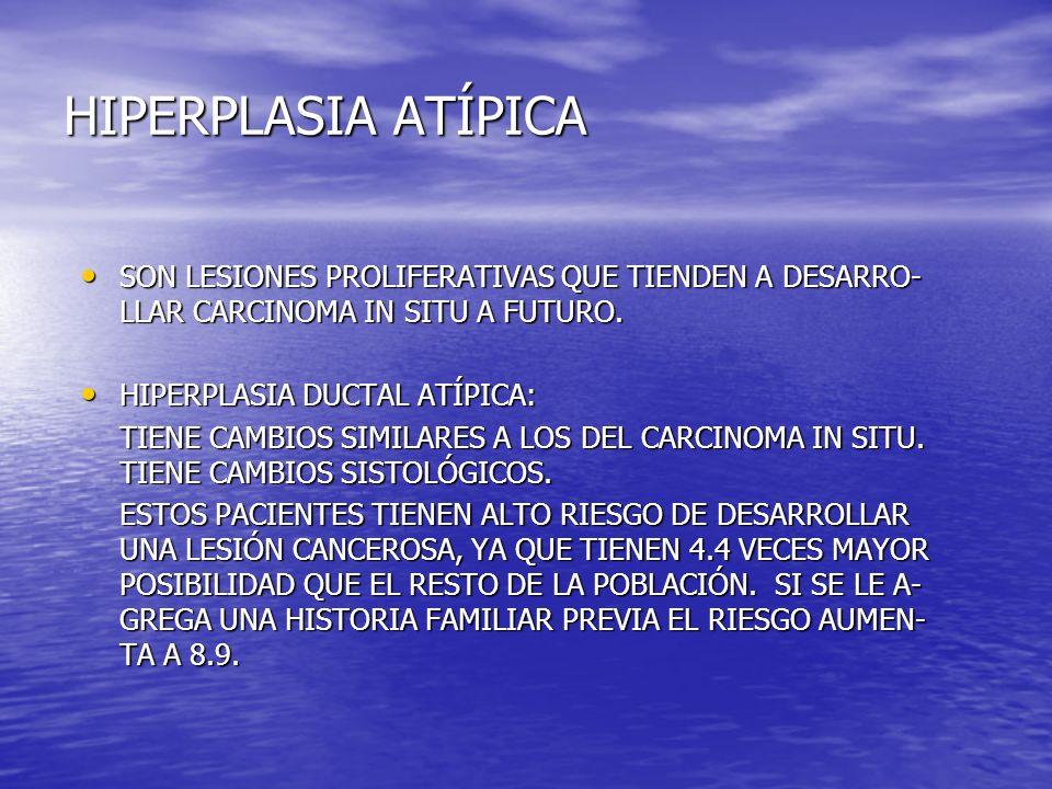 HIPERPLASIA ATÍPICA SON LESIONES PROLIFERATIVAS QUE TIENDEN A DESARRO- LLAR CARCINOMA IN SITU A FUTURO. SON LESIONES PROLIFERATIVAS QUE TIENDEN A DESA