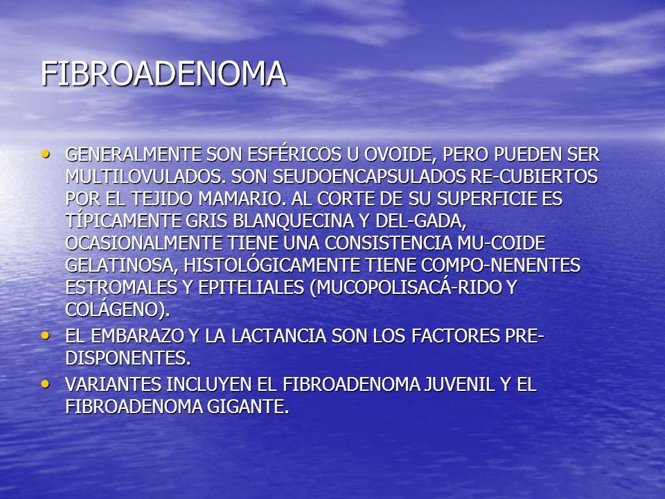 FIBROADENOMA GENERALMENTE SON ESFÉRICOS U OVOIDE, PERO PUEDEN SER MULTILOVULADOS. SON SEUDOENCAPSULADOS RE-CUBIERTOS POR EL TEJIDO MAMARIO. AL CORTE D