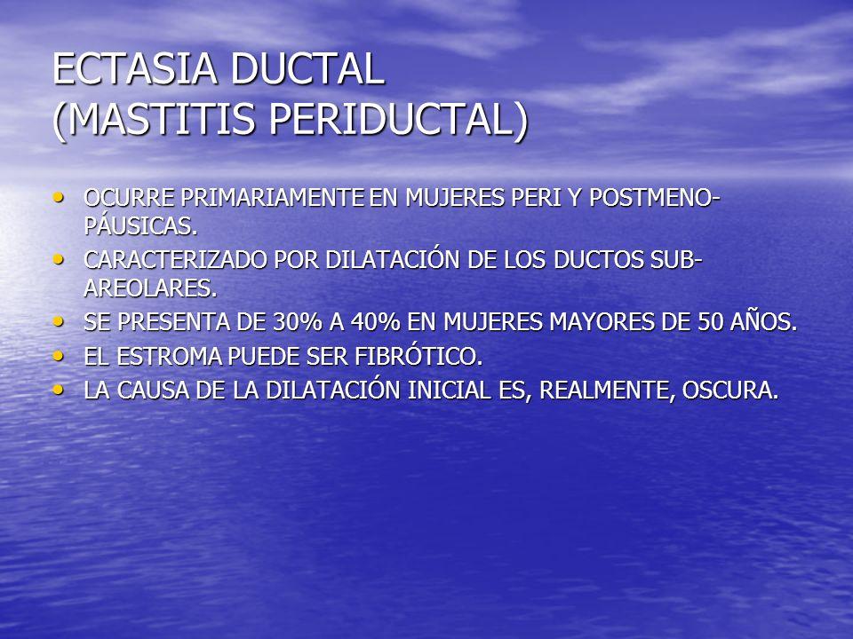 ECTASIA DUCTAL (MASTITIS PERIDUCTAL) OCURRE PRIMARIAMENTE EN MUJERES PERI Y POSTMENO- PÁUSICAS. OCURRE PRIMARIAMENTE EN MUJERES PERI Y POSTMENO- PÁUSI