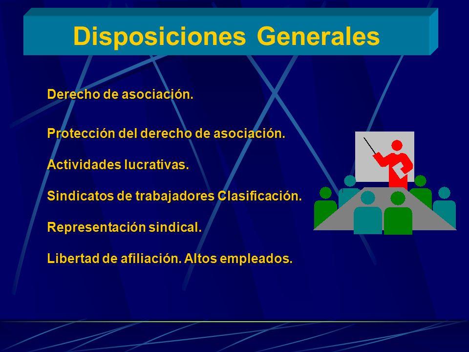 Disposiciones Generales Derecho de asociación. Protección del derecho de asociación. Actividades lucrativas. Sindicatos de trabajadores Clasificación.