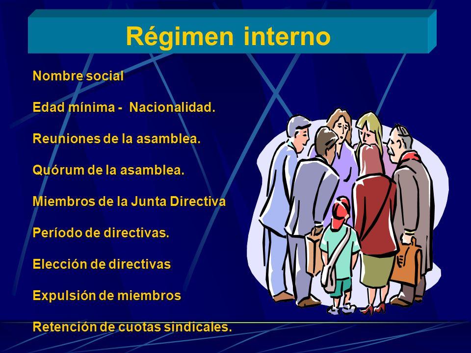 Régimen interno Nombre social Edad mínima - Nacionalidad. Reuniones de la asamblea. Quórum de la asamblea. Miembros de la Junta Directiva Período de d