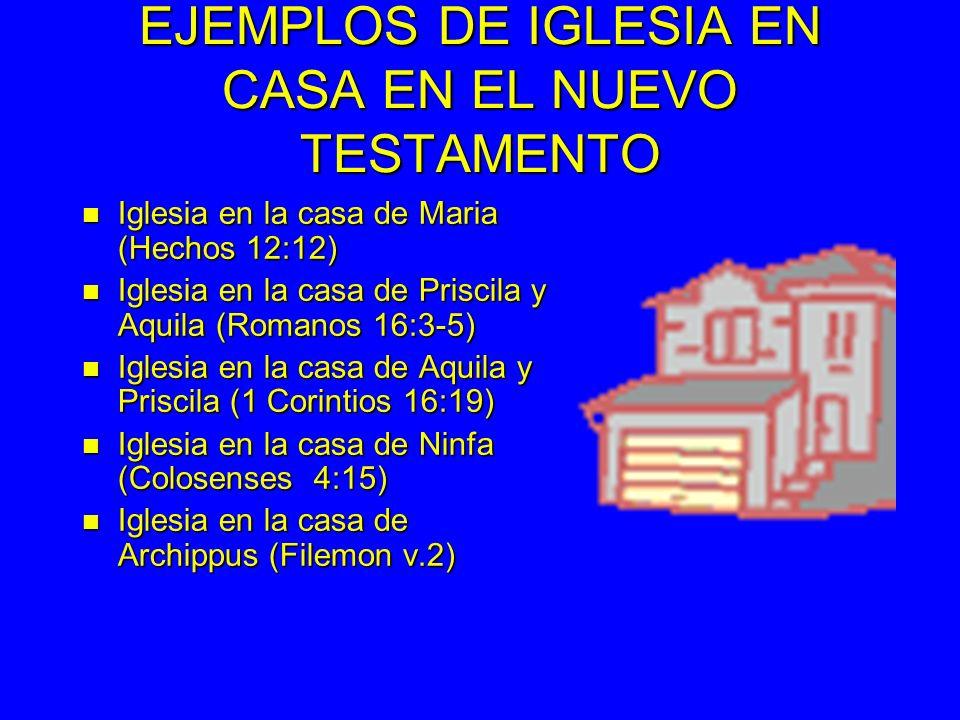EJEMPLOS DE IGLESIA EN CASA EN EL NUEVO TESTAMENTO n Iglesia en la casa de Maria (Hechos 12:12) n Iglesia en la casa de Priscila y Aquila (Romanos 16:3-5) n Iglesia en la casa de Aquila y Priscila (1 Corintios 16:19) n Iglesia en la casa de Ninfa (Colosenses 4:15) n Iglesia en la casa de Archippus (Filemon v.2)