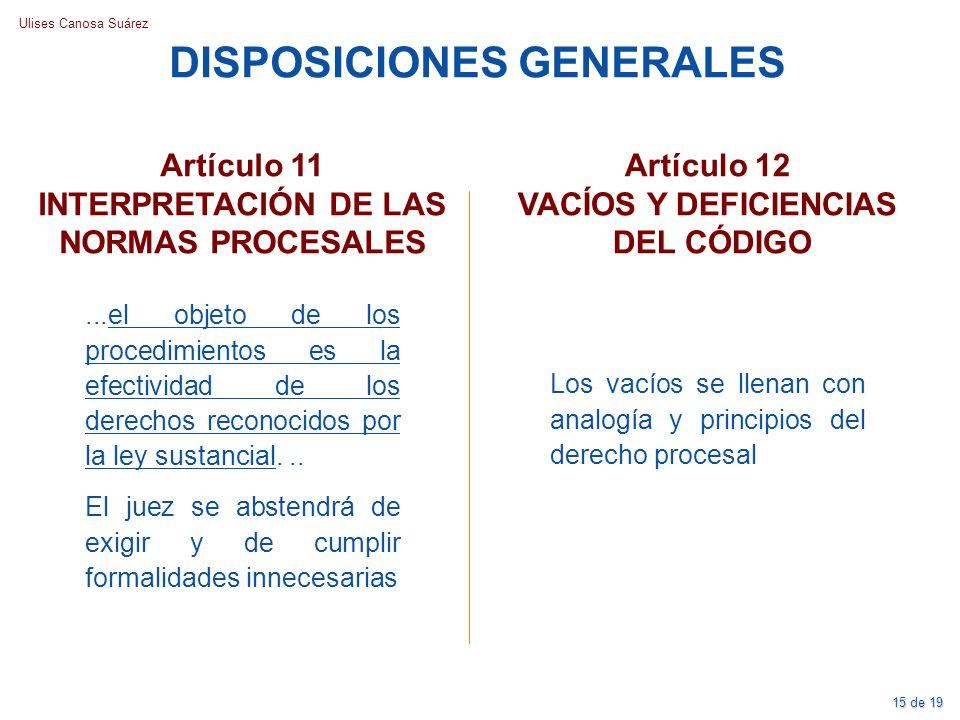 Ulises Canosa Suárez Artículo 11 INTERPRETACIÓN DE LAS NORMAS PROCESALES DISPOSICIONES GENERALES...el objeto de los procedimientos es la efectividad d