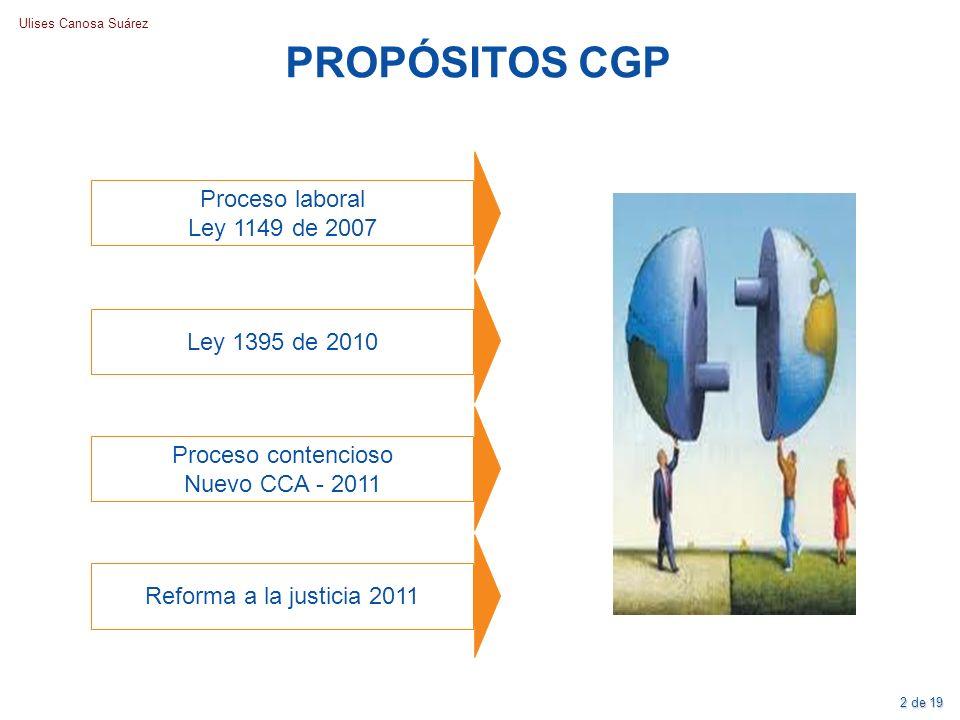 Ulises Canosa Suárez PROPÓSITOS CGP Proceso laboral Ley 1149 de 2007 Proceso contencioso Nuevo CCA - 2011 Ley 1395 de 2010 Reforma a la justicia 2011
