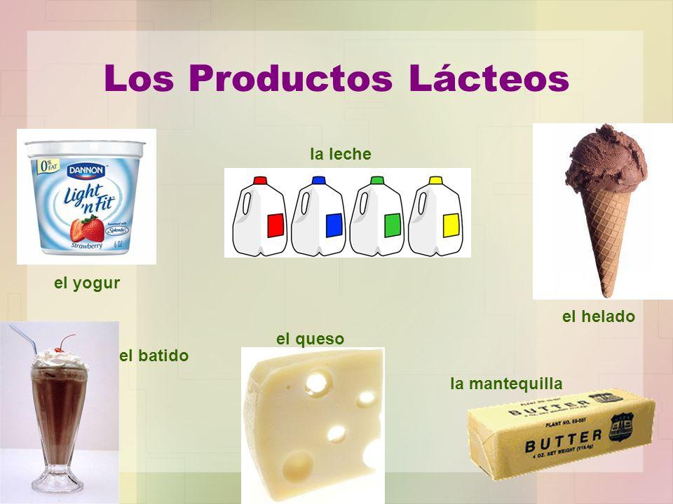 Los Productos Lácteos el yogur la leche el helado el batido el queso la mantequilla
