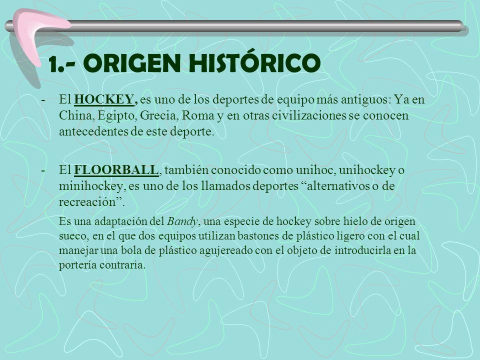 1.- ORIGEN HISTÓRICO -El HOCKEY, es uno de los deportes de equipo más antiguos: Ya en China, Egipto, Grecia, Roma y en otras civilizaciones se conocen
