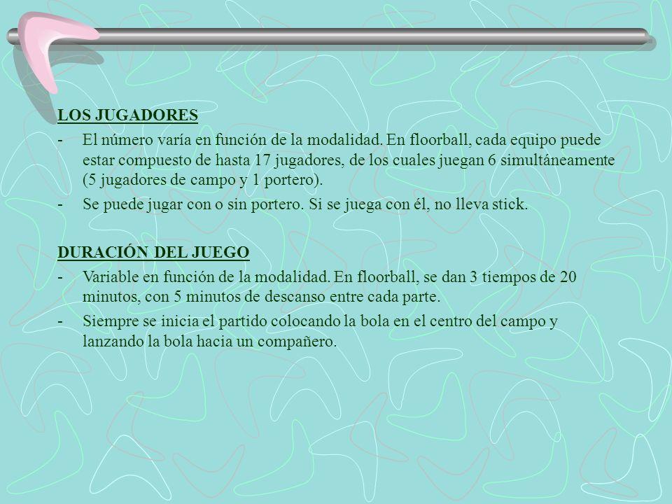 LOS JUGADORES -El número varía en función de la modalidad. En floorball, cada equipo puede estar compuesto de hasta 17 jugadores, de los cuales juegan