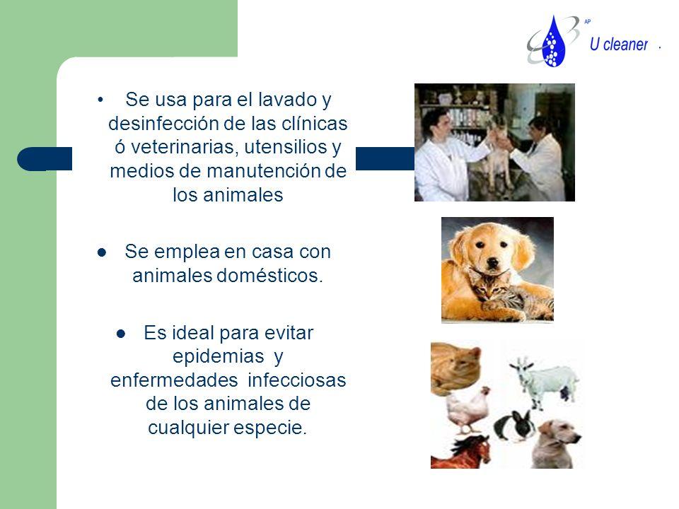 Se usa para el lavado y desinfección de las clínicas ó veterinarias, utensilios y medios de manutención de los animales Se emplea en casa con animales domésticos.