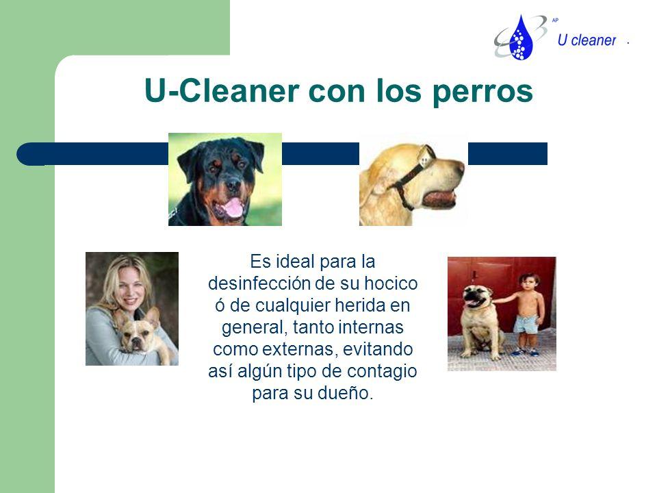 U-Cleaner con los perros Es ideal para la desinfección de su hocico ó de cualquier herida en general, tanto internas como externas, evitando así algún tipo de contagio para su dueño.