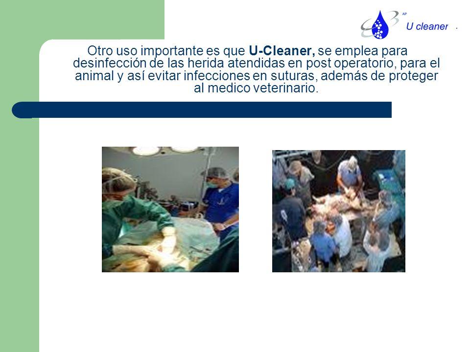 Otro uso importante es que U-Cleaner, se emplea para desinfección de las herida atendidas en post operatorio, para el animal y así evitar infecciones en suturas, además de proteger al medico veterinario.