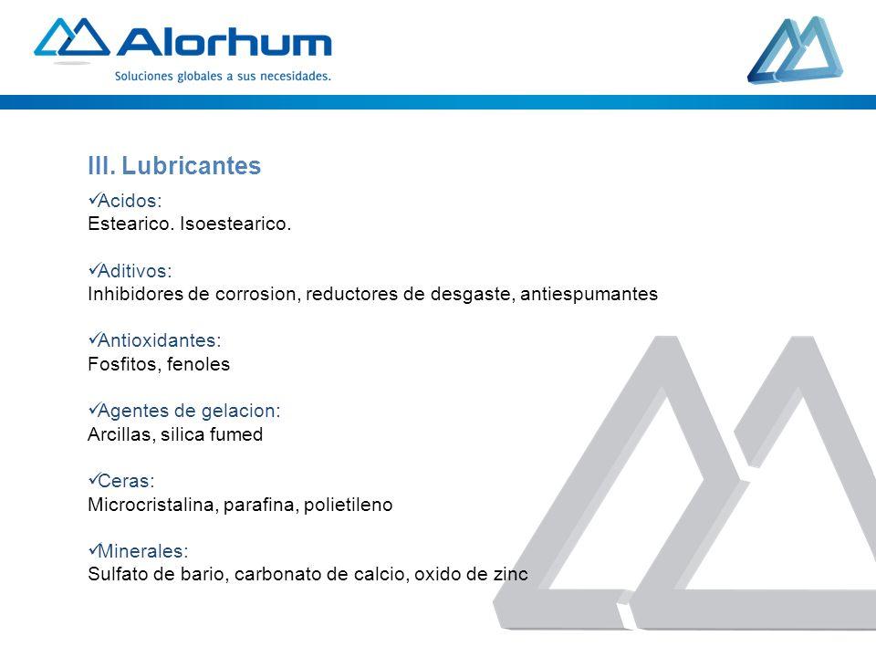 Acidos: Estearico. Isoestearico. Aditivos: Inhibidores de corrosion, reductores de desgaste, antiespumantes Antioxidantes: Fosfitos, fenoles Agentes d