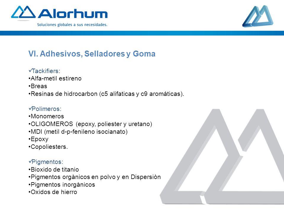 Tackifiers: Alfa-metil estireno Breas Resinas de hidrocarbon (c5 alifaticas y c9 aromáticas). Polimeros: Monomeros OLIGOMEROS (epoxy, poliester y uret