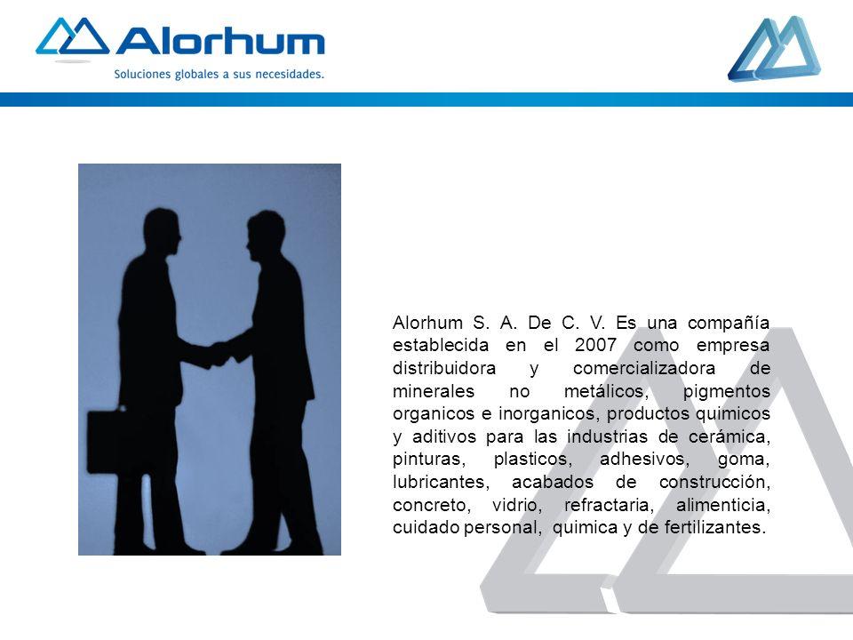 Alorhum S. A. De C. V. Es una compañía establecida en el 2007 como empresa distribuidora y comercializadora de minerales no metálicos, pigmentos organ