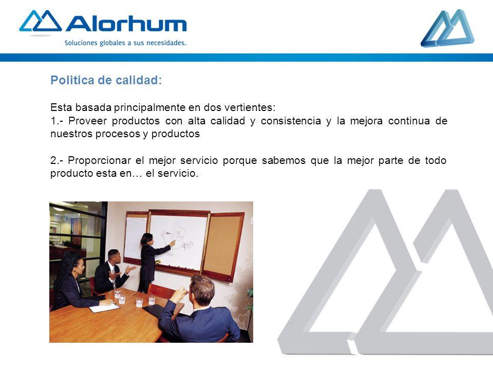 Politica de calidad: Esta basada principalmente en dos vertientes: 1.- Proveer productos con alta calidad y consistencia y la mejora continua de nuest