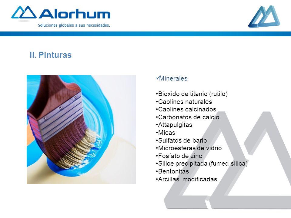 Pigmentos: Pigmentos organicos Pigmentos inorganicos Oxidos de hierro Pigmentos en dispersion (Dbas; Pdas, Udom) II.