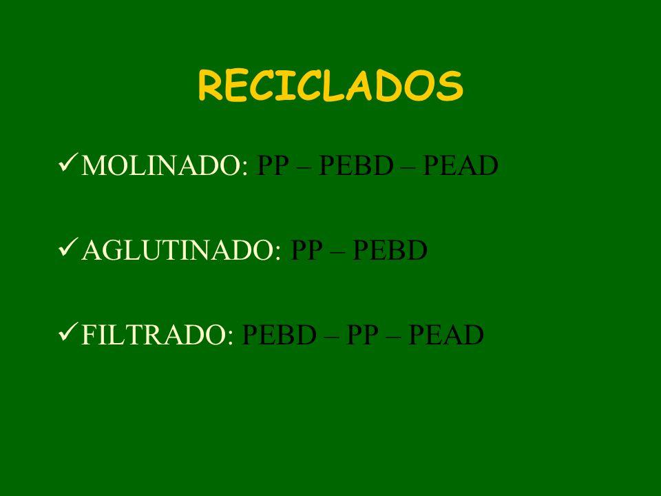 RECICLADOS MOLINADO: PP – PEBD – PEAD AGLUTINADO: PP – PEBD FILTRADO: PEBD – PP – PEAD