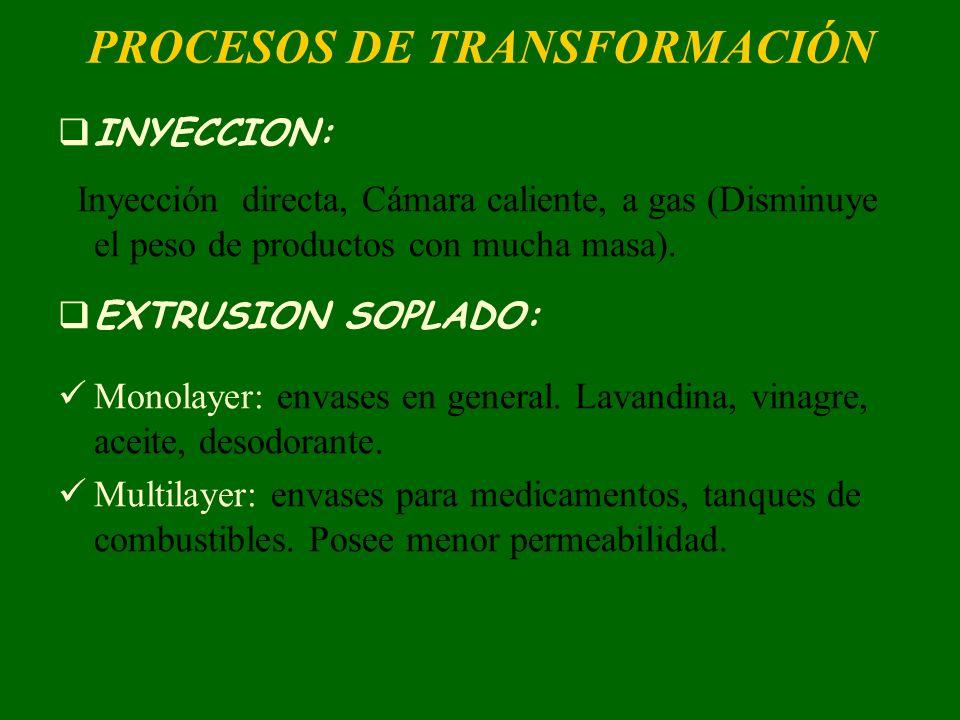 PROCESOS DE TRANSFORMACIÓN INYECCION: Inyección directa, Cámara caliente, a gas (Disminuye el peso de productos con mucha masa). EXTRUSION SOPLADO: Mo