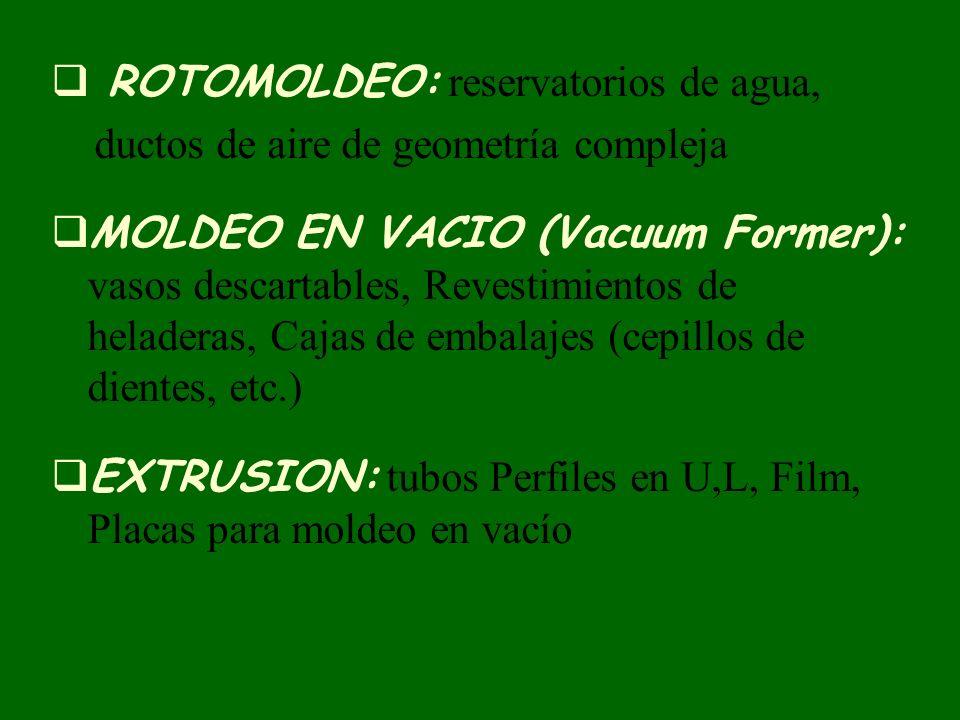 ROTOMOLDEO: reservatorios de agua, ductos de aire de geometría compleja MOLDEO EN VACIO (Vacuum Former): vasos descartables, Revestimientos de helader