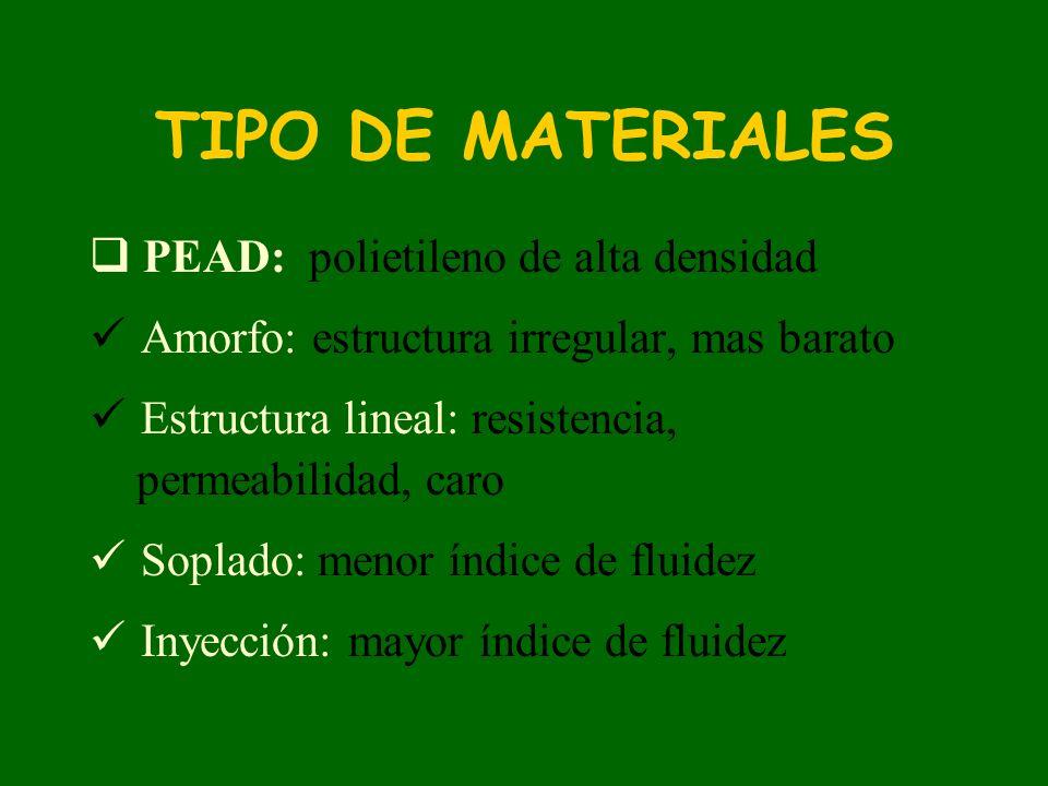 PEBD: Polietileno de baja densidad, da mayor flexibilidad al producto, índice de fluidez mayor que PEAD.