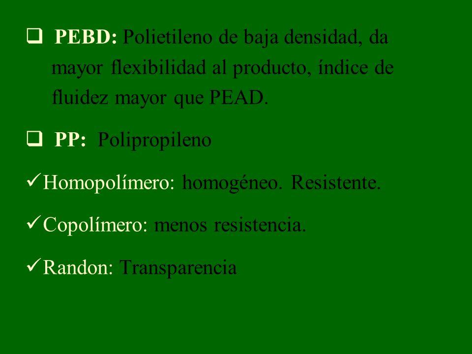 PEBD: Polietileno de baja densidad, da mayor flexibilidad al producto, índice de fluidez mayor que PEAD. PP: Polipropileno Homopolímero: homogéneo. Re