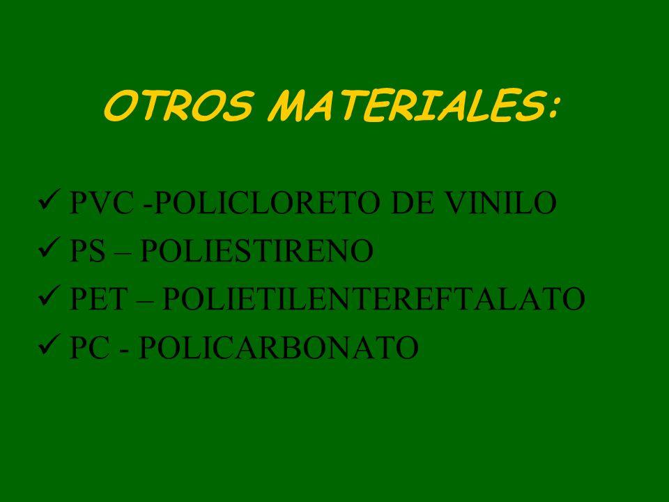 OTROS MATERIALES: PVC -POLICLORETO DE VINILO PS – POLIESTIRENO PET – POLIETILENTEREFTALATO PC - POLICARBONATO
