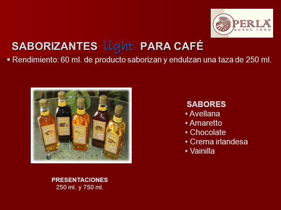 Rendimiento: 60 ml. de producto saborizan y endulzan una taza de 250 ml. PRESENTACIONES 250 ml. y 750 ml. SABORIZANTES light PARA CAFÉ SABORES Avellan