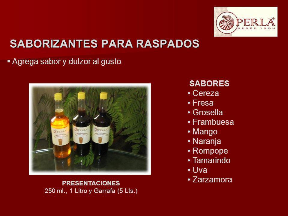 Agrega sabor y dulzor al gusto PRESENTACIONES 250 ml., 1 Litro y Garrafa (5 Lts.) SABORIZANTES PARA RASPADOS SABORES Cereza Fresa Grosella Frambuesa M